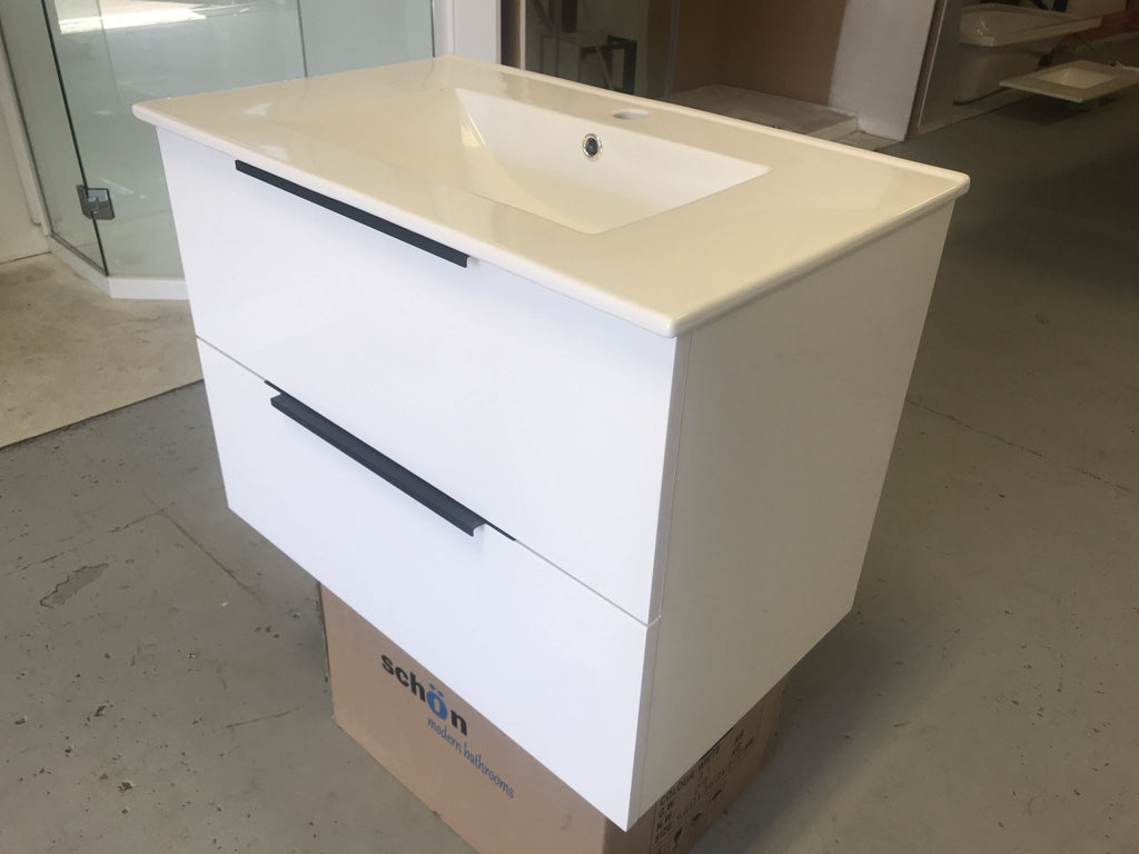 Plywood GLOSS WHITE 900 wall-hung vanity base only with ceramic top - Bathroom Clearance
