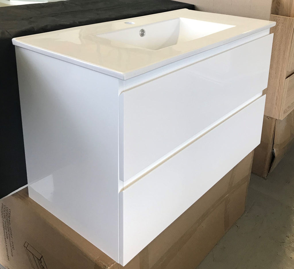 PLYWOOD 750 WALL HUNG VANITY - WHITE WITH CERAMIC TOP - Bathroom Clearance