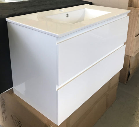 PLYWOOD 600 WALL HUNG VANITY - WHITE WITH CERAMIC TOP - Bathroom Clearance