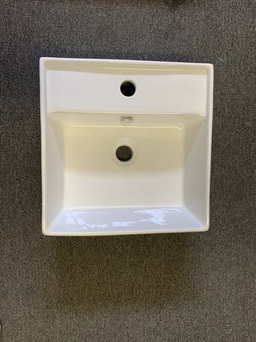 GLOSSY WHITE SQUARE BASIN 400 X 410MM - Bathroom Clearance