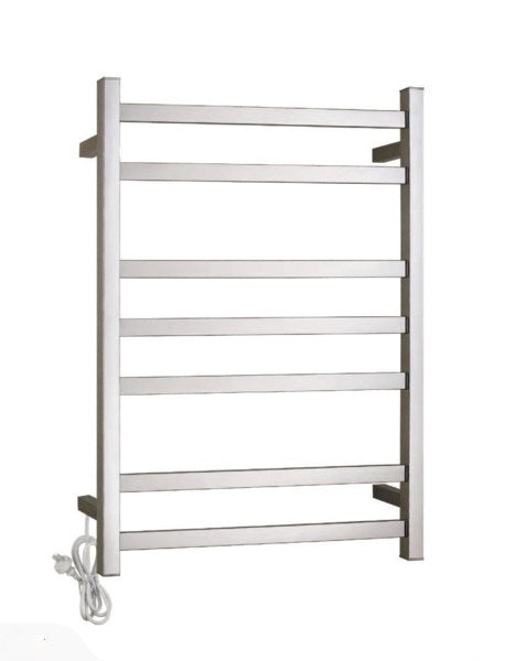 HEATED TOWEL RAIL STAINLESS STEEL - CHROME FINISH 7 BARS SQUARE - Bathroom Clearance