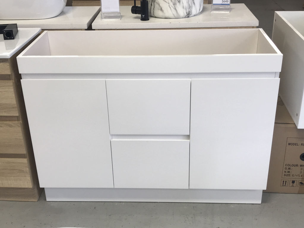 PLYWOOD 1200 FLOOR STANDING WHITE VANITY BASE ONLY 2 DRAWERS 2 DOORS - Bathroom Clearance