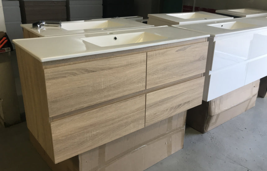 PLYWOOD 1200 LIGHT OAK WALL HUNG VANITY WITH CERAMIC TOP - Bathroom Clearance