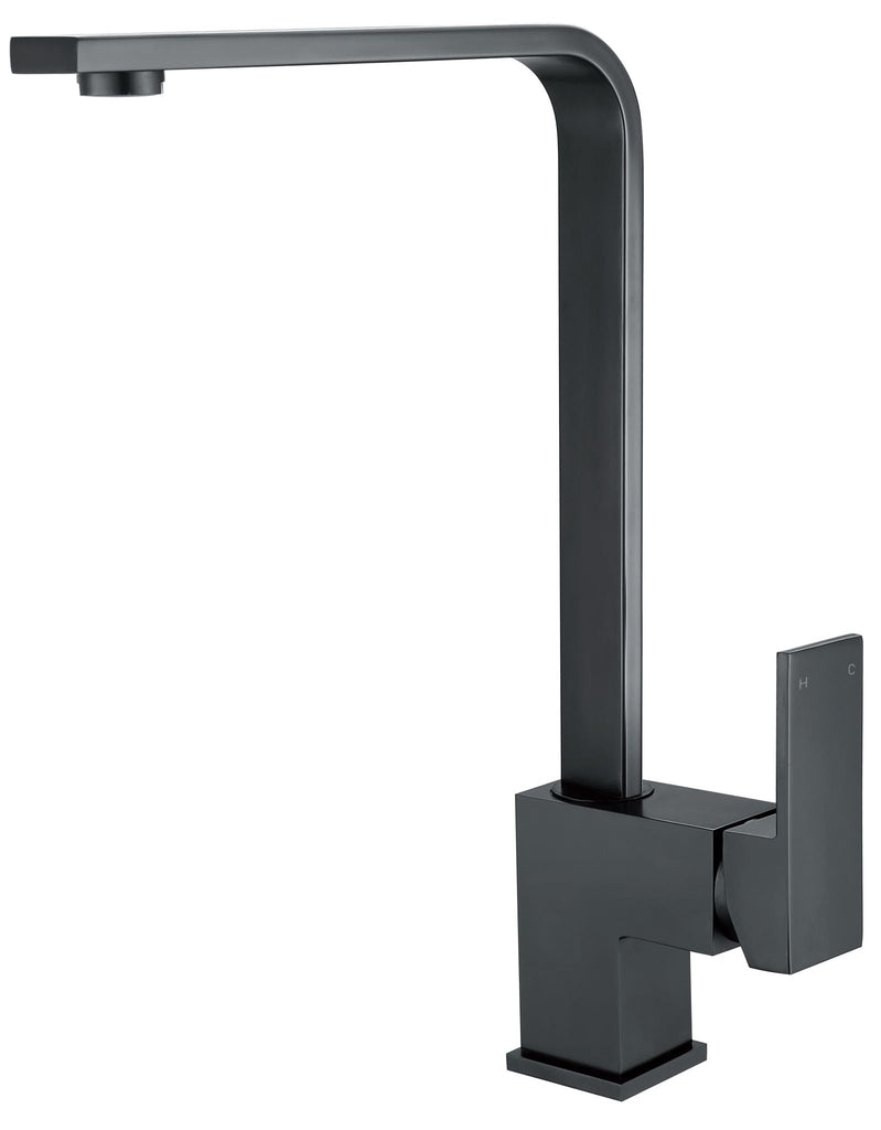 SQUARE KITCHEN MIXER SWIVEL SPOUT - MATTE BLACK - Bathroom Clearance