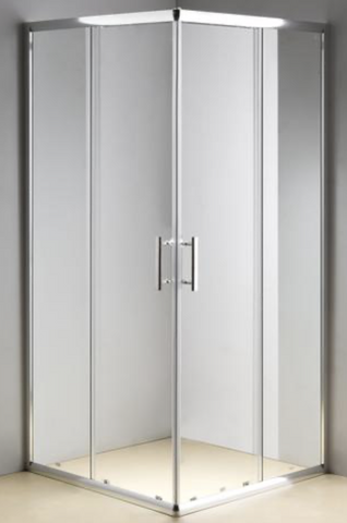 ARNEY 900 x 900 CHROME FRAME SHOWER, SLIDING DOORS, CORNER WASTE - EXTRA HIGH - Bathroom Clearance