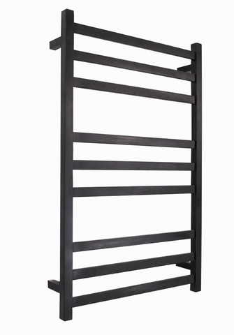 HEATED TOWEL RAIL STAINLESS STEEL - MATTE BLACK FINISH 9 BARS SQUARE - Bathroom Clearance