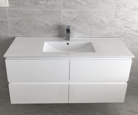 PLYWOOD 1200 WHITE WALL HUNG VANITY FOR SINGLE BASIN - Bathroom Clearance