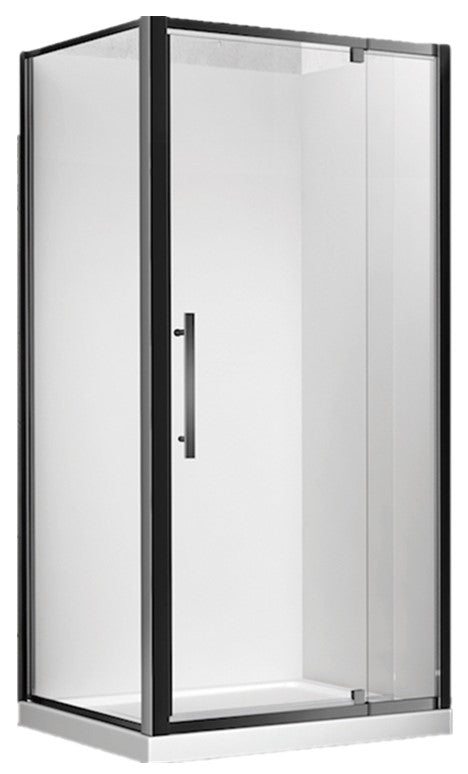CUBO 900 x 900 BLACK SHOWER, CENTRE WASTE - EXTRA HIGH - Bathroom Clearance