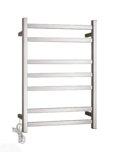 HEATED TOWEL RAIL STAINLESS STEEL - CHROME FINISH 7 BARS 500MM WIDE - Bathroom Clearance