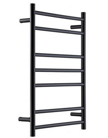 HEATED TOWEL RAIL STAINLESS STEEL - MATTE BLACK FINISH 7 BARS ROUND - Bathroom Clearance