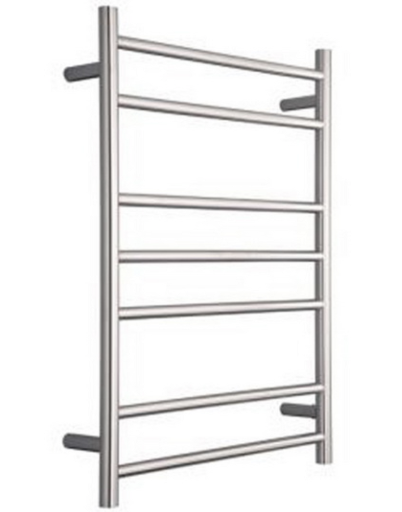 HEATED TOWEL RAIL STAINLESS STEEL - CHROME FINISH 7 BARS ROUND - Bathroom Clearance