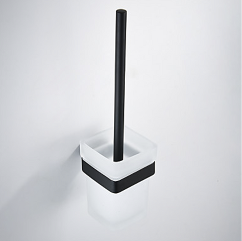 MIRO SQUARE TOILET BRUSH AND HOLDER - MATTE BLACK - Bathroom Clearance