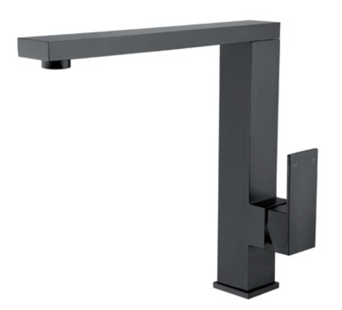 SQUARE TALL MIXER SWIVEL MATTE BLACK - Bathroom Clearance