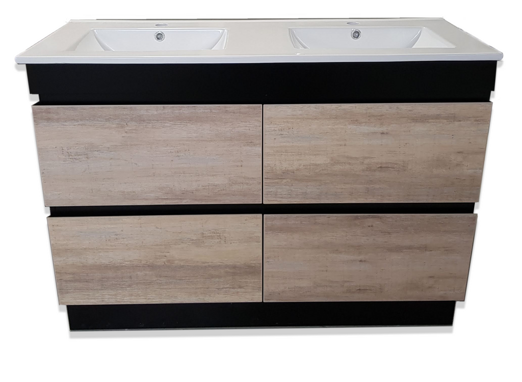 PLYWOOD 1200MM BLACK LIGHT OAK WITH DOUBLE BASIN CERAMIC TOP - Bathroom Clearance