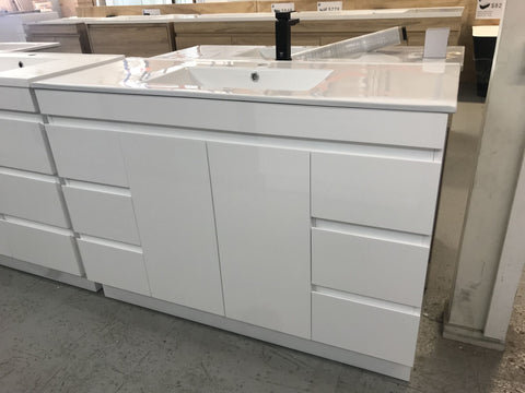PLYWOOD 1200 WHITE GLOSS VANITY FLOORSTANDING WITH CERAMIC TOP - Bathroom Clearance