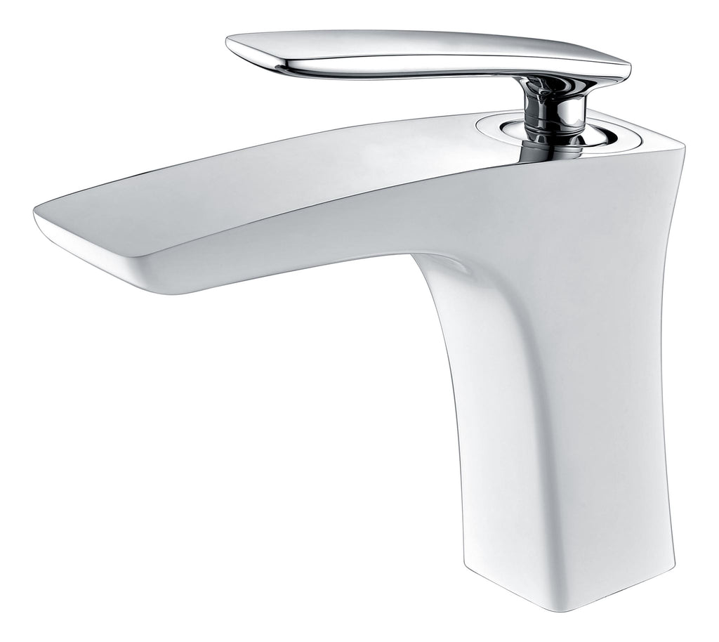 CARA BASIN MIXER - WHITE & CHROME - Bathroom Clearance
