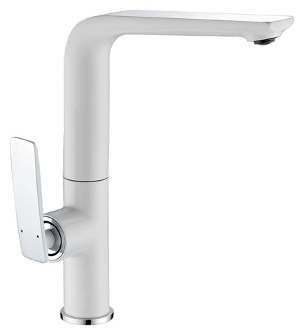 CARA KITCHEN MIXER - WHITE & CHROME - Bathroom Clearance