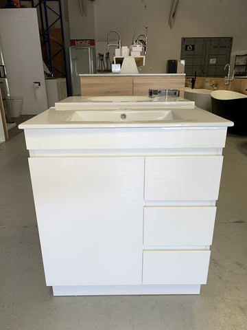 PLYWOOD WHITE GLOSS 750 VANITY FLOOR STANDING WITH CERAMIC TOP - Bathroom Clearance