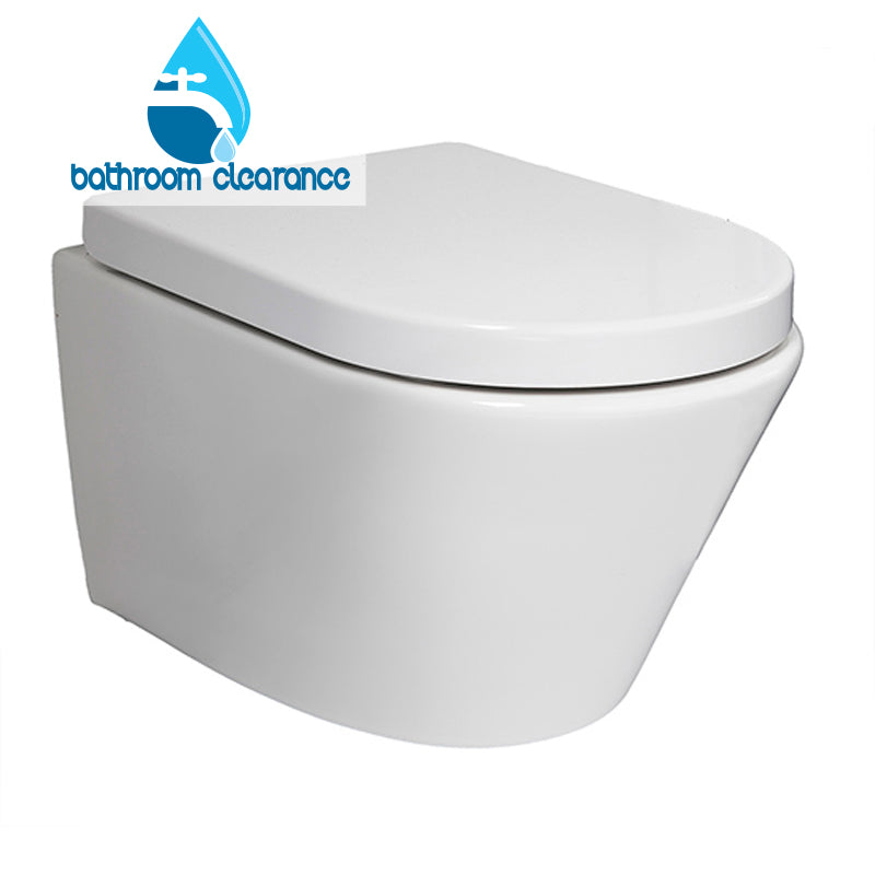 ARCO WALL HUNG PAN WITH SOFT CLOSE SEAT - Bathroom Clearance