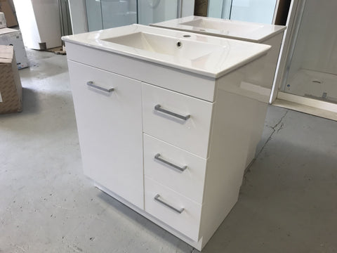 PLYWOOD 900 FLOOR-STANDING WHITE GLOSS VANITY WITH CERAMIC TOP (AND HANDLES) - Bathroom Clearance