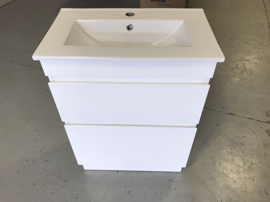 Plywood FreeStanding SLIM 600x360 vanity base with a ceramic top - Bathroom Clearance