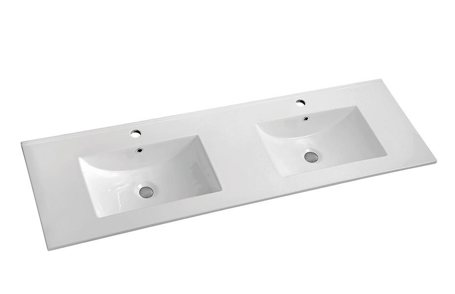 1200 CERAMIC WAVE TOP DOUBLE BOWL - Bathroom Clearance