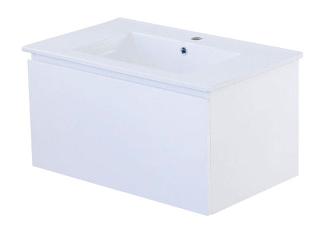 PLYWOOD COBOLT 750 W/H 1 DWR CAB WHITE GLOSS With Ceramic top - Bathroom Clearance