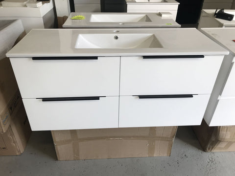 PLYWOOD 1200 WALL HUNG WHITE VANITY WITH SINGLE BASIN CERAMIC TOP - Bathroom Clearance