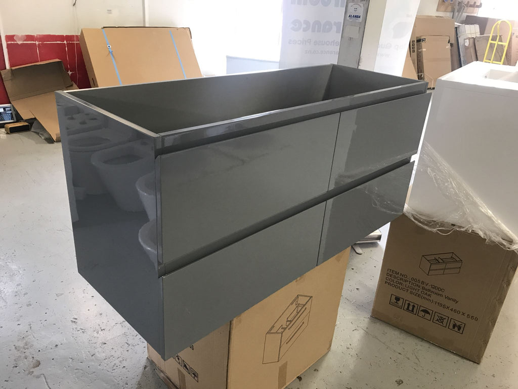 Plywood Dark grey 1200 wall-hung vanity base only with no ceramic top - Bathroom Clearance