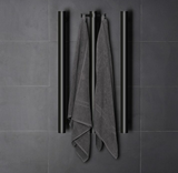 DELUXE HEATED TOWEL RAIL STAINLESS STEEL - VERTICAL BAR - MATTE BLACK FINISH 1 BAR - Bathroom Clearance