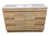 PLYWOOD 1200 FLOOR STANDING LIGHT OAK SINGLE BASIN VANITY (VANITY BASE ONLY) - Bathroom Clearance