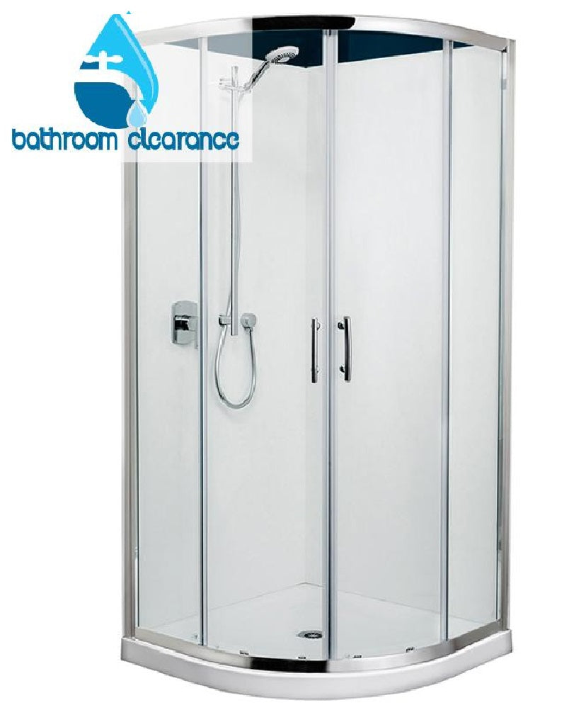 TONDO 900 x 900 CHROME FRAME SHOWER, CORNER WASTE - EXTRA HIGH - Bathroom Clearance