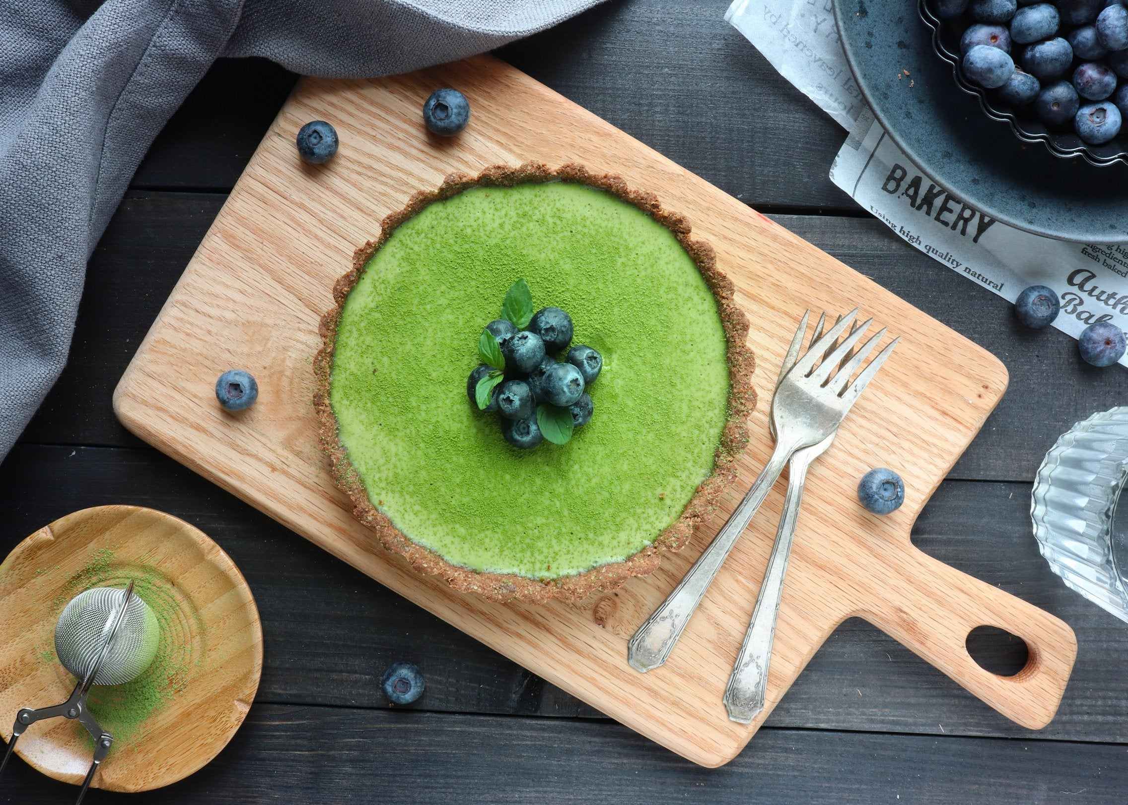 Matcha Cream Tart With Oatmeal Crust