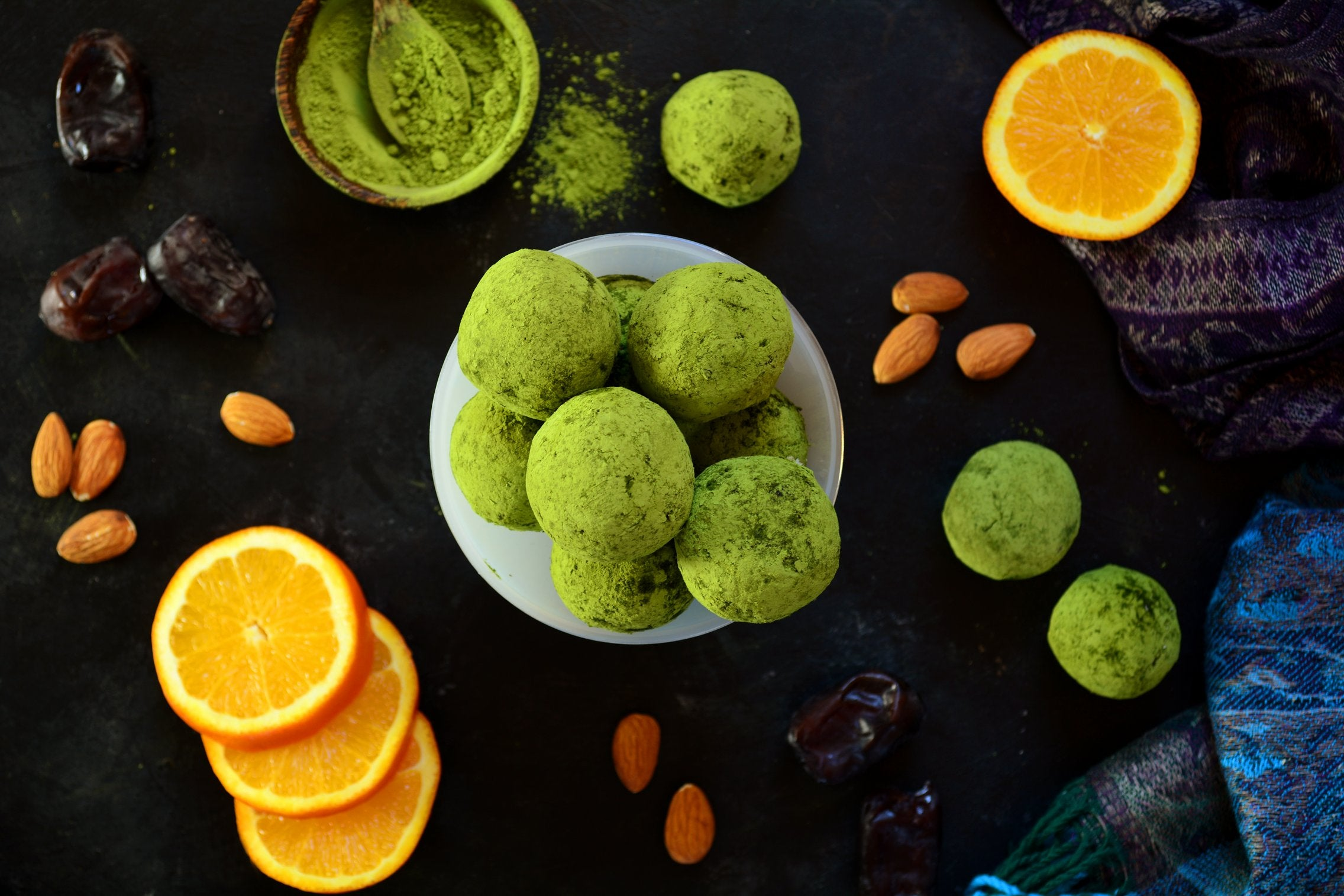 Matcha Energy Balls With Almond Meal, Flax Meal and Orange Zest
