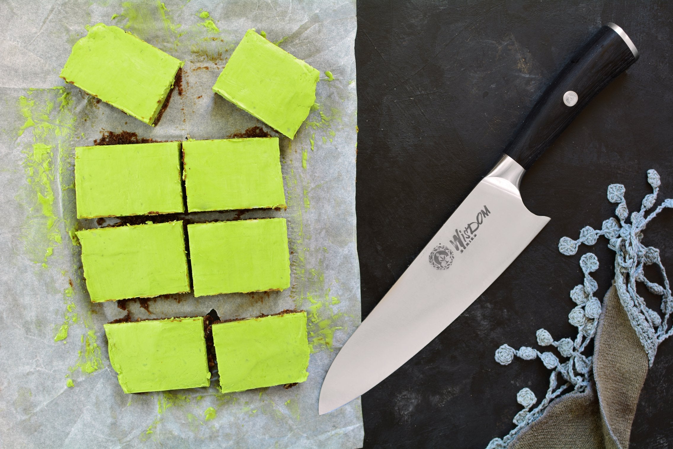 Maca Matcha Bars - Cutting