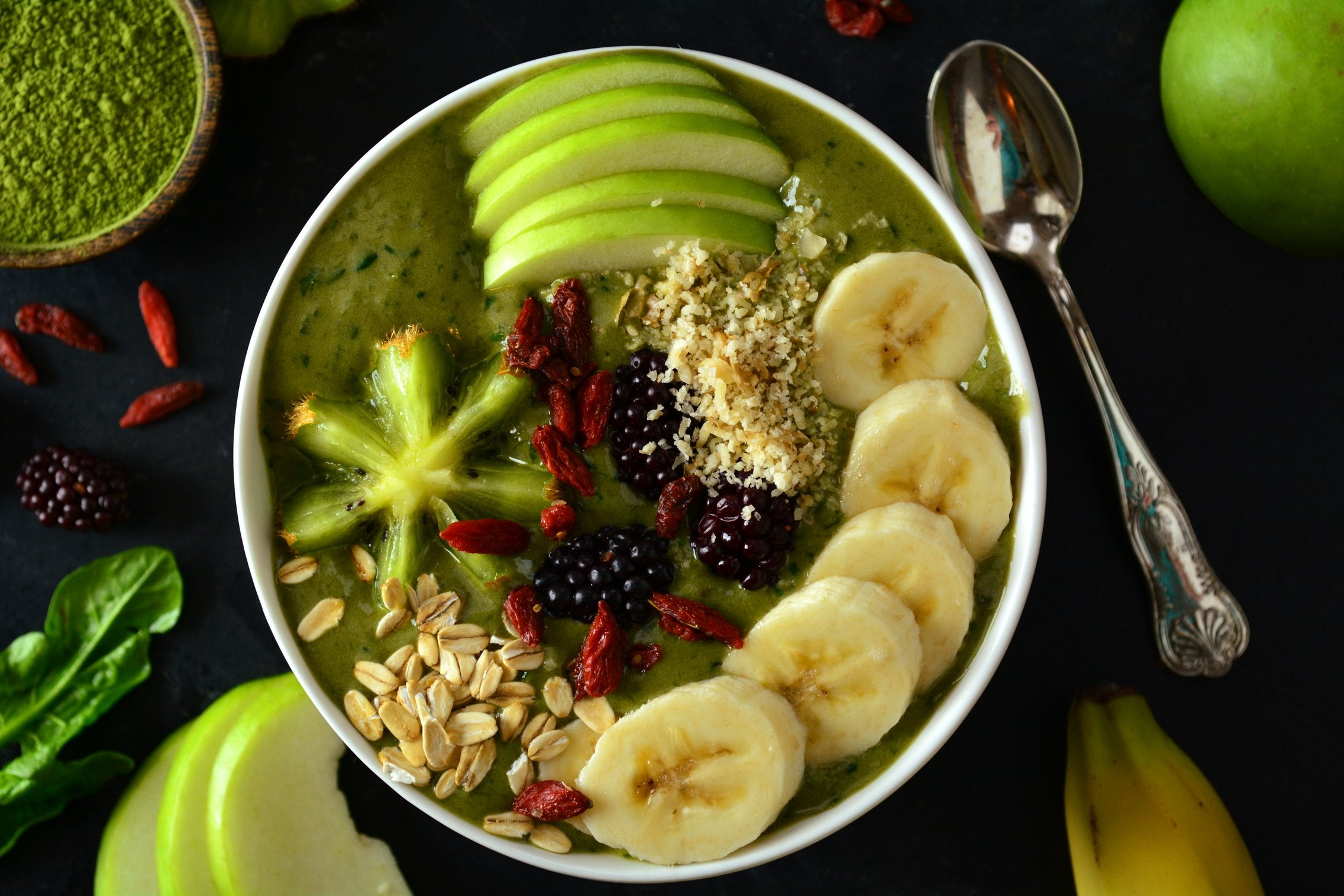 Matcha Green Smoothie Bowl With Spinach and Avocado
