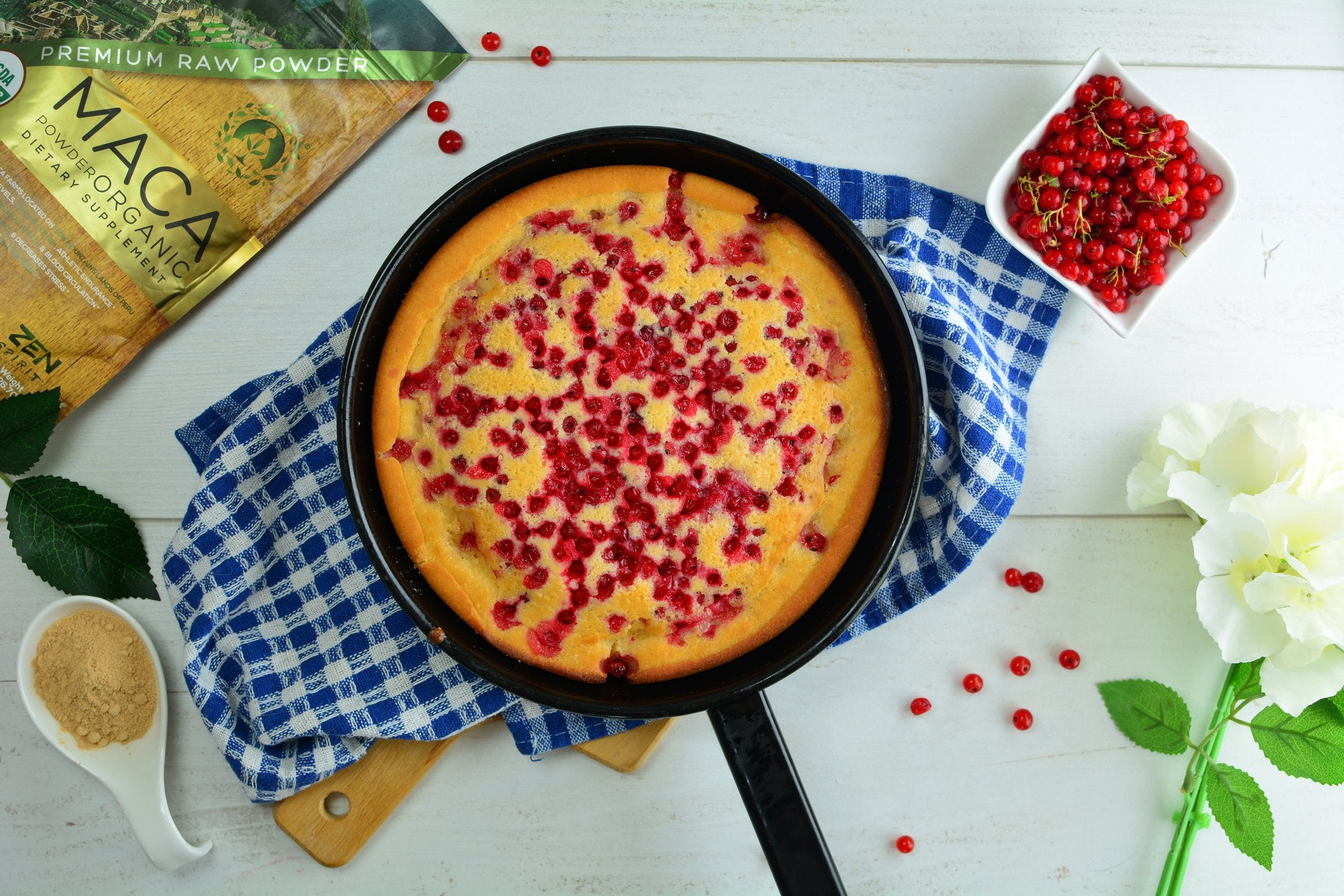 Finished Oven Baked Maca Pancake with Berries