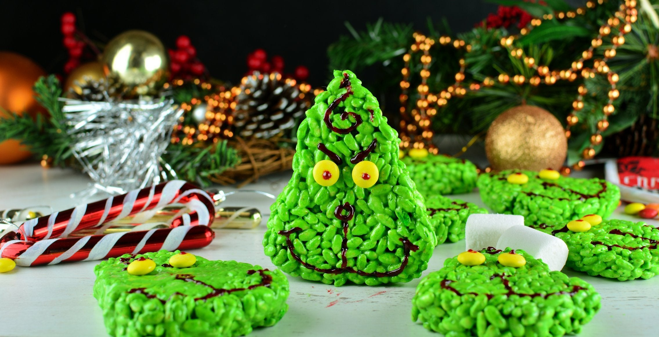 Marshmallow Matcha Grinch Cookies with M&M's