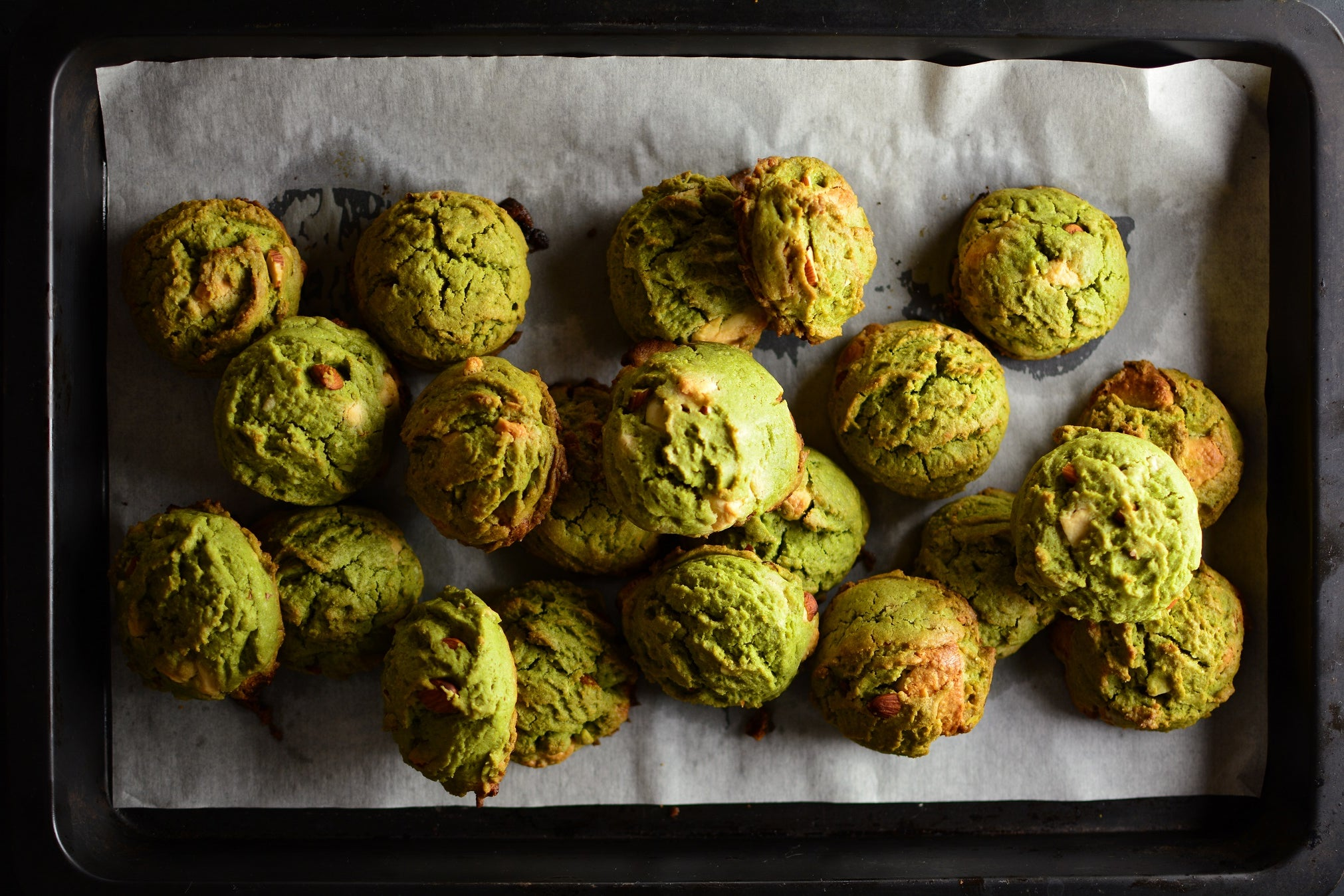 Matcha Cookies With Cinnamon, Almonds and Chocolate Chunks