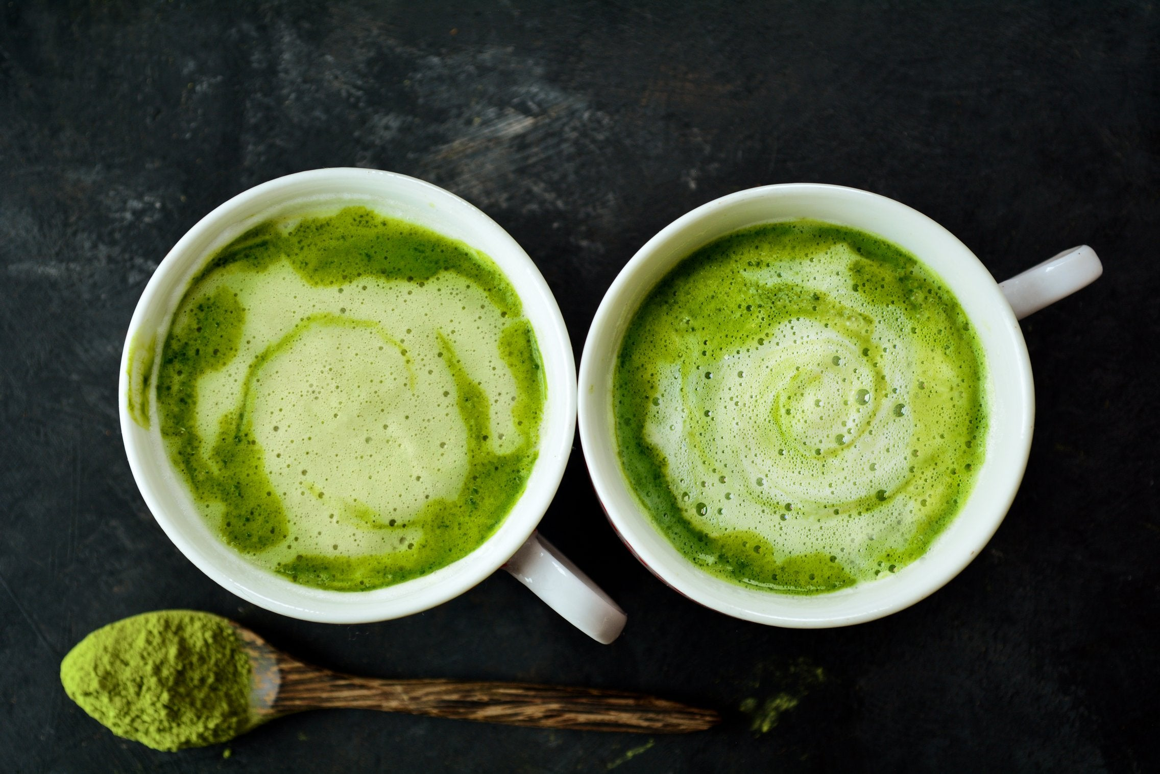 Matcha Latte With Coconut Milk, Cinnamon Powder and Stevia