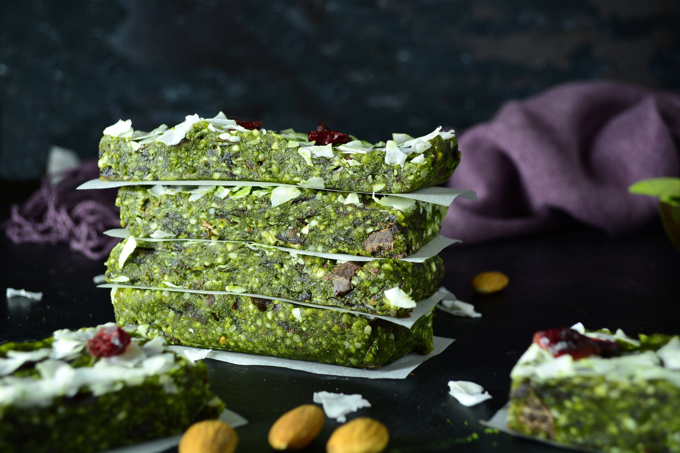 Coconut Matcha Energy Bars With Almonds, Cashews and Hemp Seeds