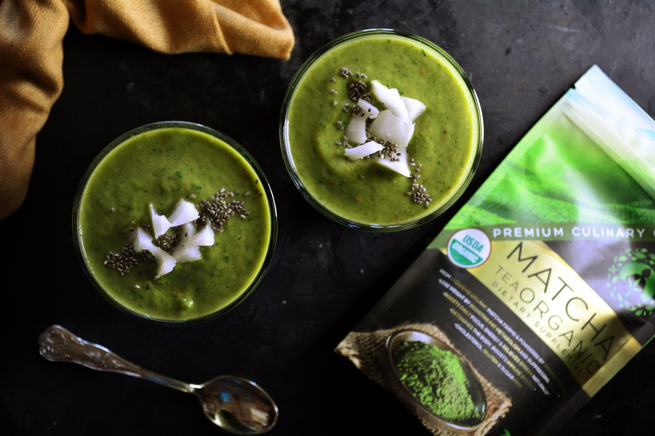 Protein Melon and Spinach Smoothie With Coconut, Yogurt and Chia Seeds