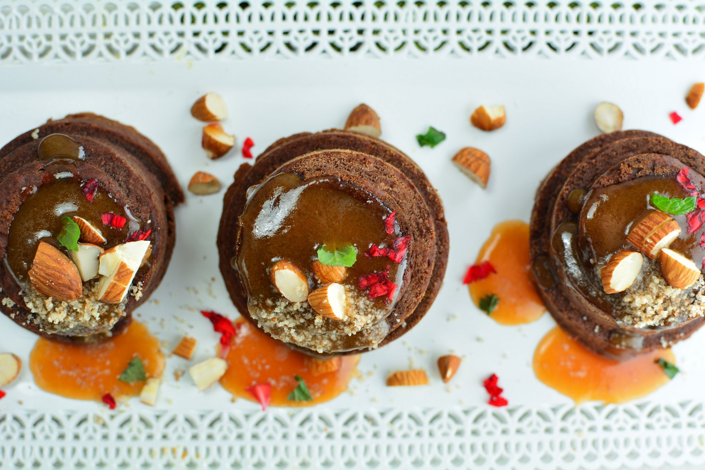Maca Banana Chocolate Cakes with Caramel Sauce