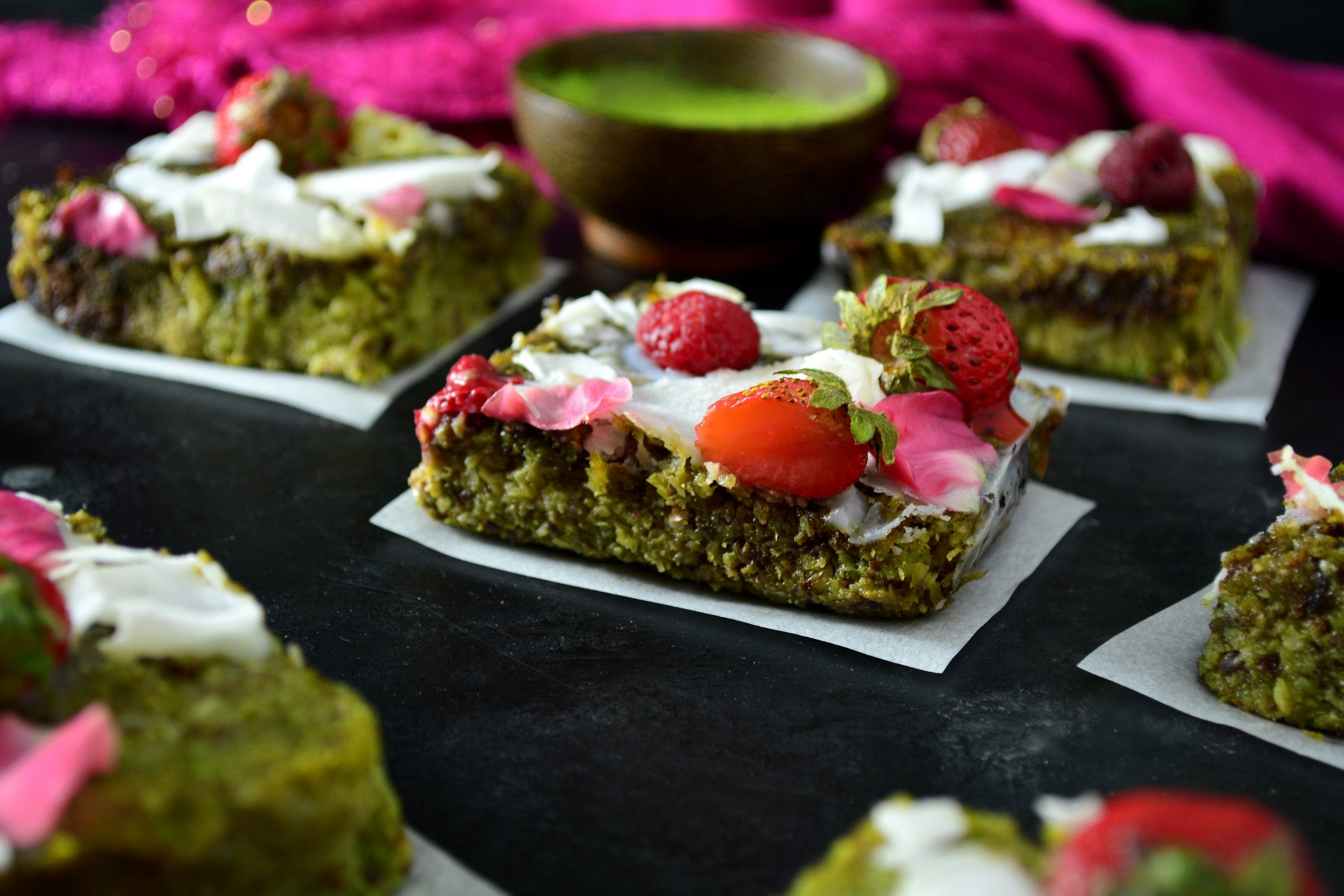 Coconut Matcha Brownies With Strawberries and Raspberries