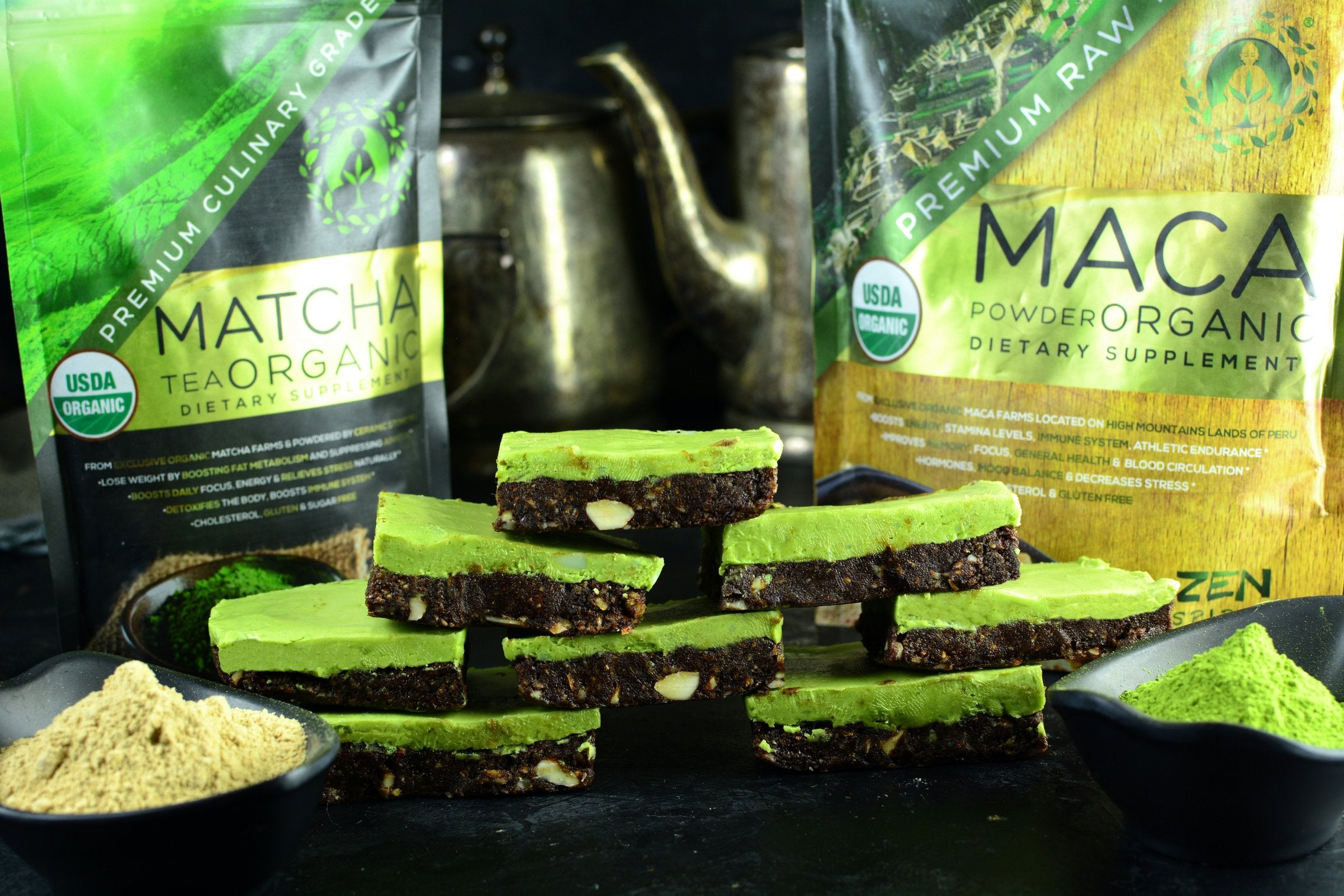 Maca Matcha Bars - Finished Products