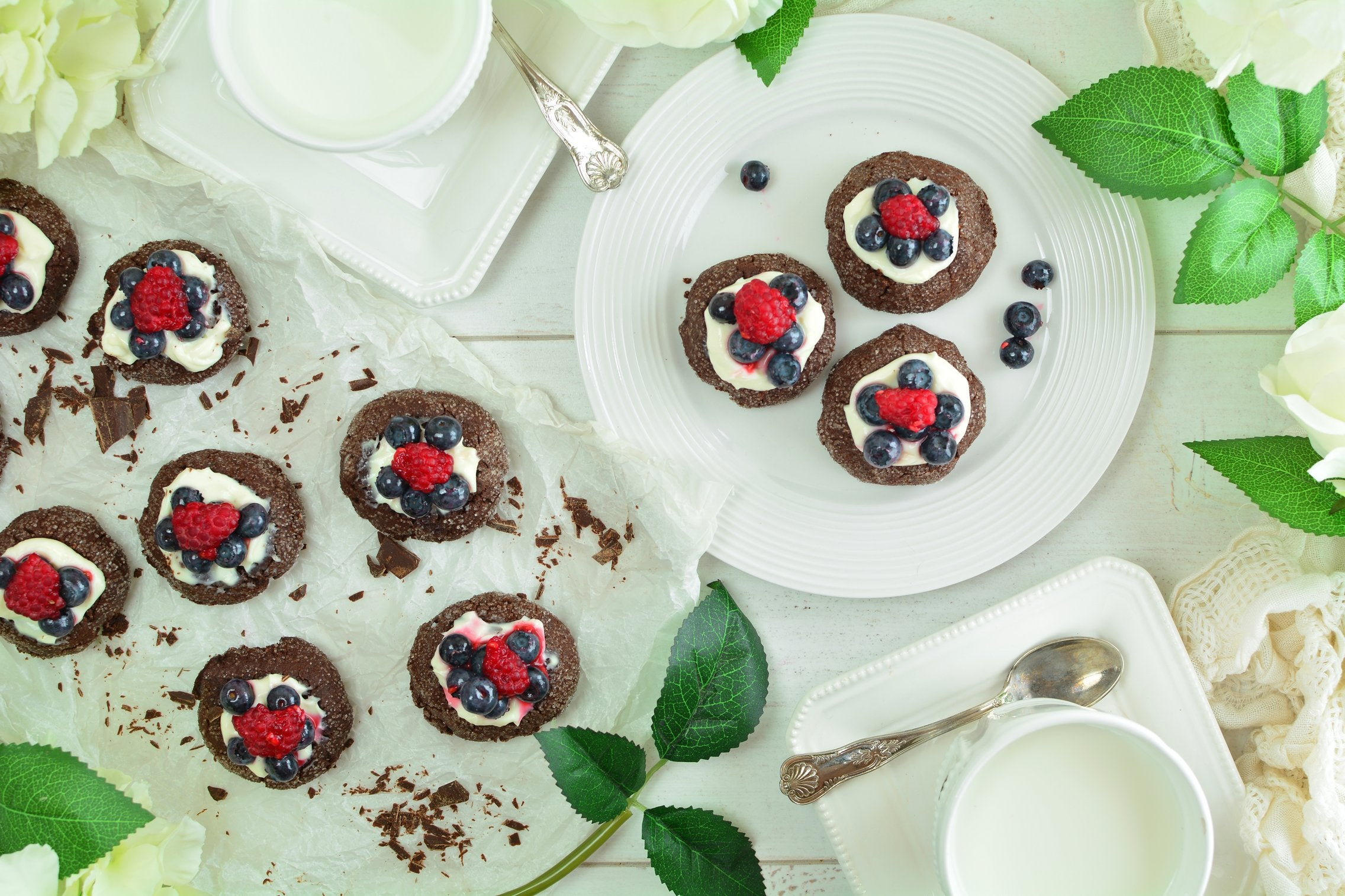 Chocolate Maca Thumbprints with Greek Yogurt and Berries