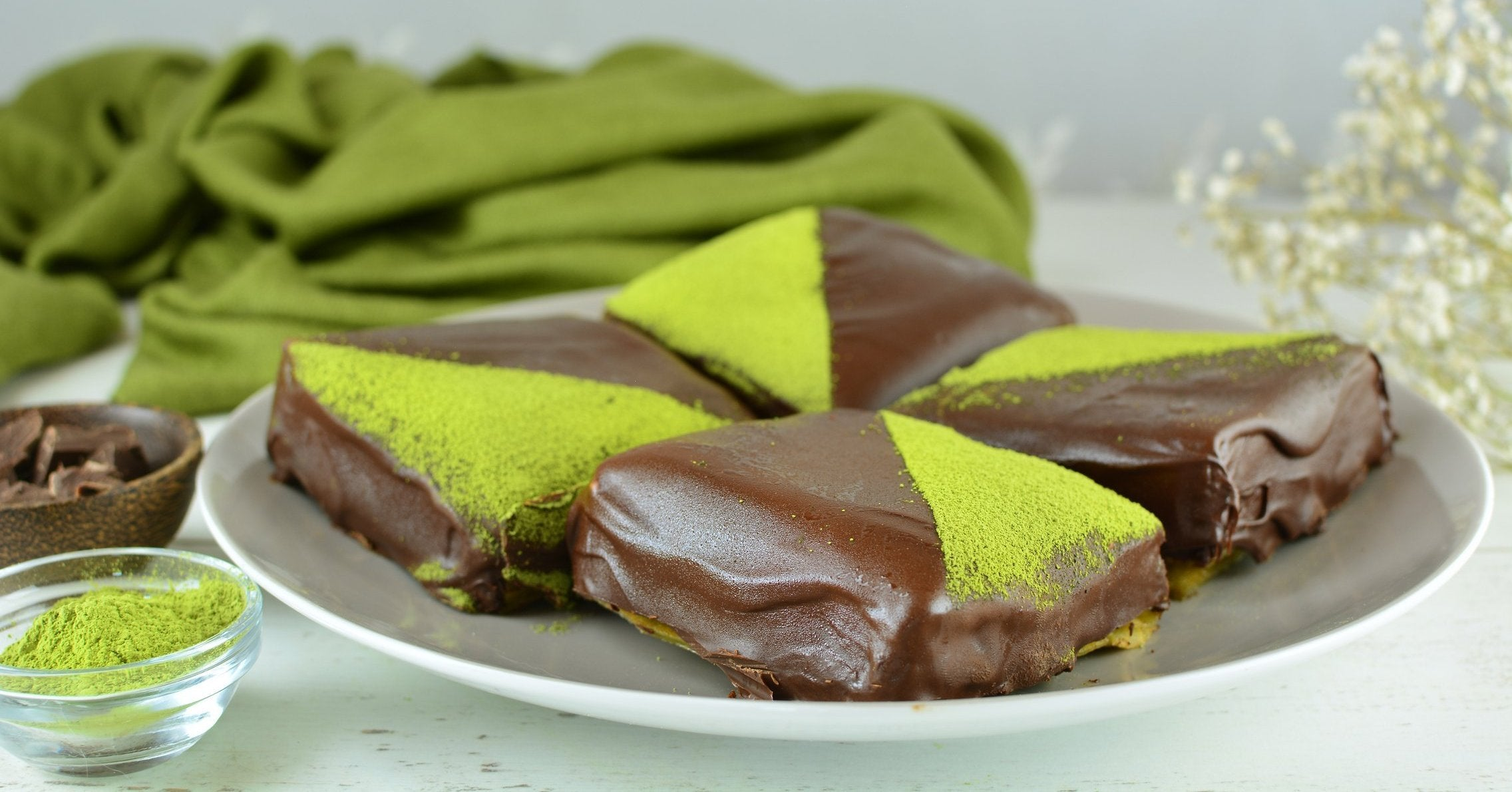 Matcha Crepe Cakes with Whipped Cream and Dark Chocolate