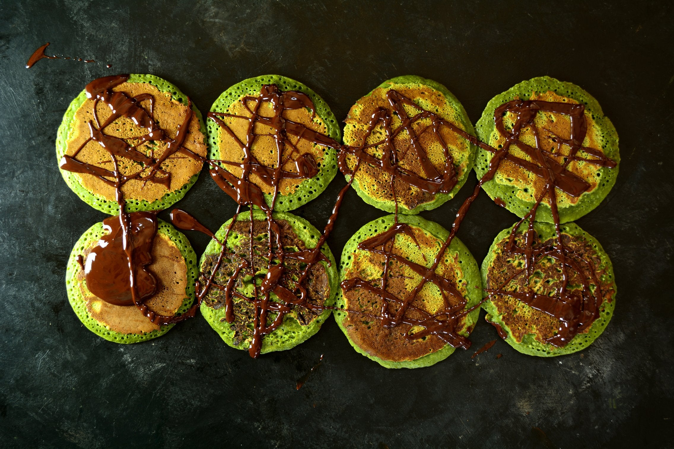 Matcha Pancakes With The Chocolate Sauce