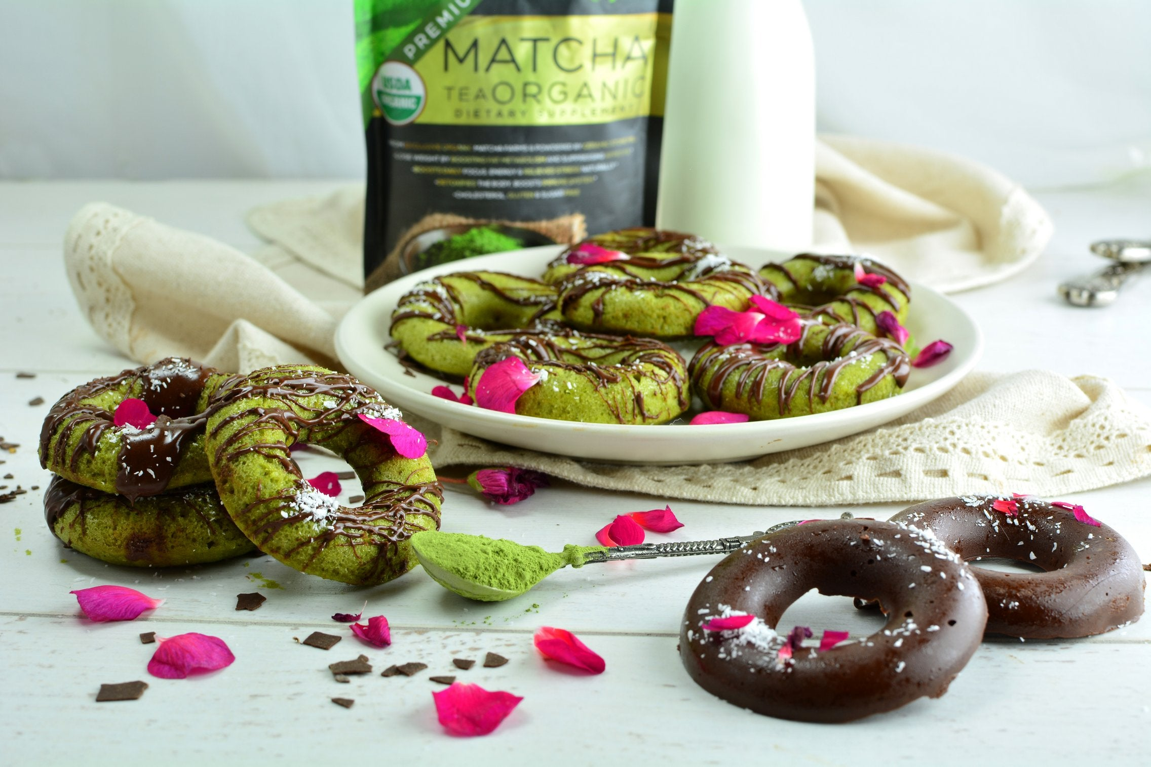 Finished Matcha Chocolate Doughnuts