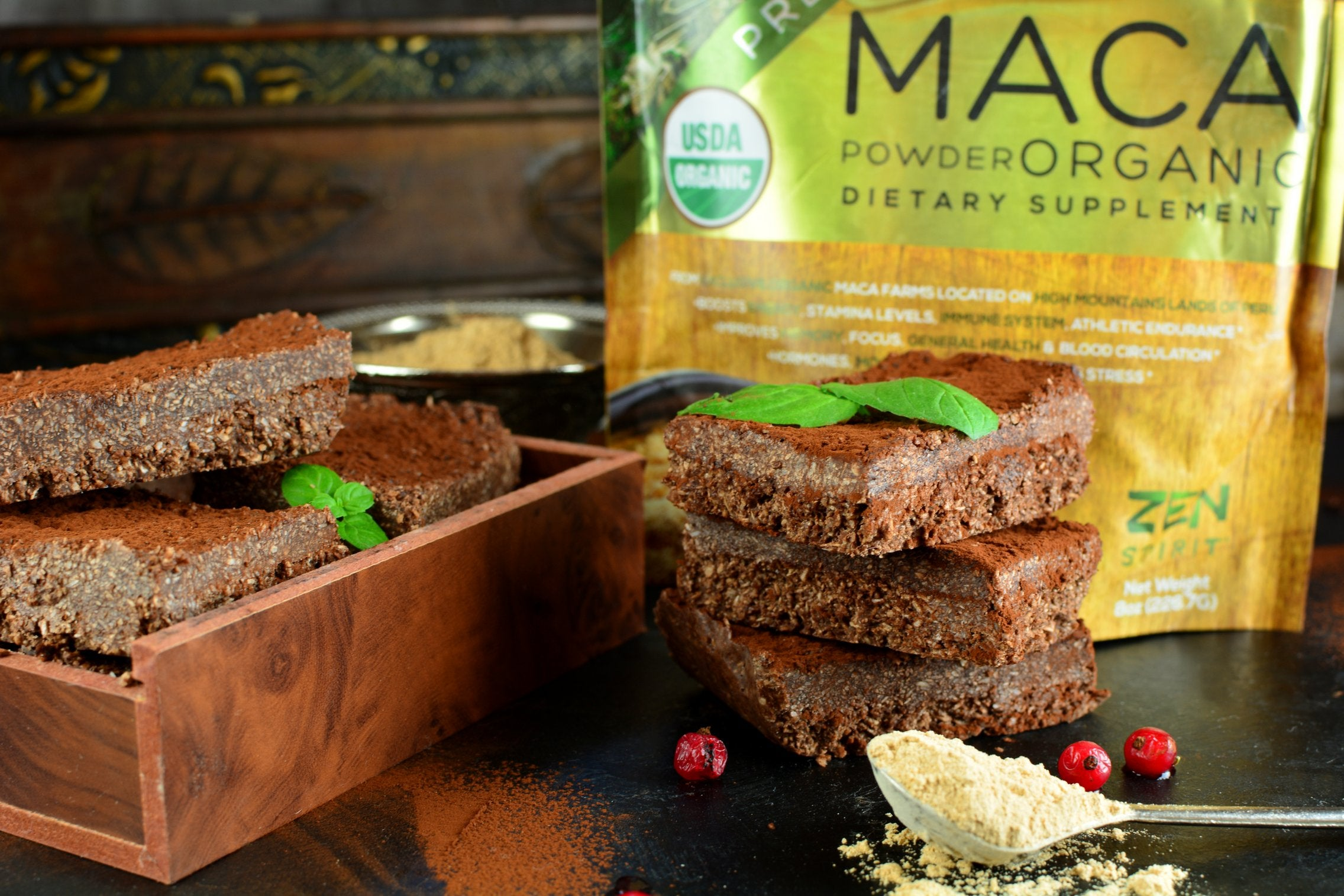 Coconut Maca Bars With Vanilla and Cocoa